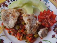 Spitzpaprika-Honigmelonen-Salsa mit Rotbarschfilet und Honigmelonen-Spalten - Rezept - Bild Nr. 8567