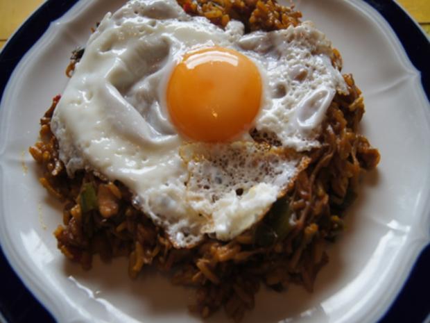 Champignon-Gemüse-Reis-Pfanne mit Spiegelei - Rezept - Bild Nr. 2