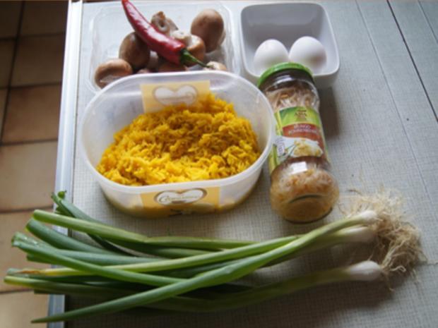Champignon-Gemüse-Reis-Pfanne mit Spiegelei - Rezept - Bild Nr. 3