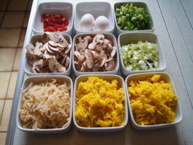 Champignon-Gemüse-Reis-Pfanne mit Spiegelei - Rezept - Bild Nr. 4