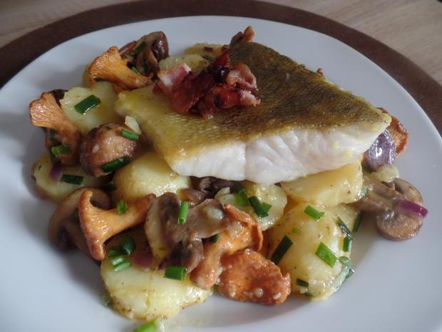 Zander auf Kartoffel-Pilz -Salat - Rezept - Bild Nr. 8571