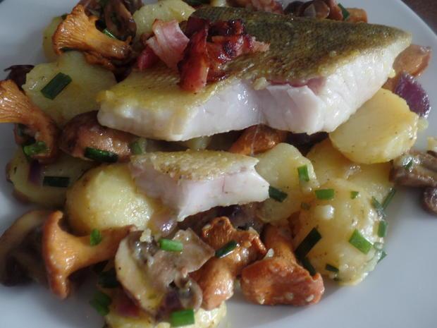 Zander auf Kartoffel-Pilz -Salat - Rezept - Bild Nr. 8587
