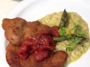 Schweinefleisch in Senf-Kräuterpanade mit Spargelrisotto und geschmorten Vanilletomaten - Rezept - Bild Nr. 2