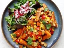 Süßkartoffel-Mais-Pfanne mit Paprika und Feto - Rezept - Bild Nr. 8614