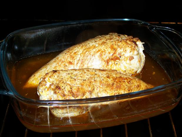 Hühnerfilet gefüllt,  in einer Porreespecksauce - Rezept - Bild Nr. 8720