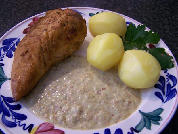 Hühnerfilet gefüllt,  in einer Porreespecksauce - Rezept - Bild Nr. 8721