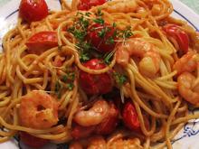 Spaghetti mit Brunch und Garnelen - Rezept - Bild Nr. 2