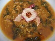 Rote Linsensuppe mit Blattspinat - Rezept - Bild Nr. 8720
