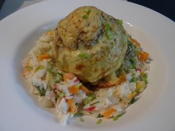 Gefüllte Kohlrabi auf Rahm-Gemüse-Reis - Rezept - Bild Nr. 8720