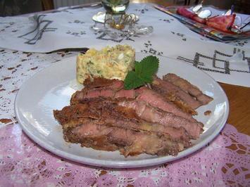 Stroh - Schwein-Kotelett und Còte de Boeuf vom Rind u. Kartoffelsalat - Rezept - Bild Nr. 8776