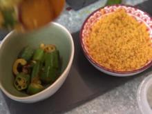 Indische Reisplatte mit Dhal, Palak Paneer, Okra in Ghee, 2 Chutneys und Papadam - Rezept - Bild Nr. 2
