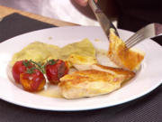 Maispoulardenbrust mit Pilz-Frischkäseravioli und Honig-Essig Jus - Rezept - Bild Nr. 2