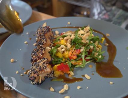 Exotischer Mango-Paprika-Salat, Lachs in Sesamkruste und Teriyakisauce - Rezept - Bild Nr. 8823