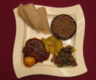 Rezept: Tibs, Kitfo und Doro Wet mit Gemüse und äthiopischem Brot