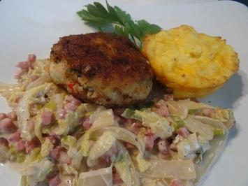 Rezept: Geflügelfrikadellen mit Rahm-Chinakohl und Kartoffelmuffins, Kochbar-Challenge 9.0