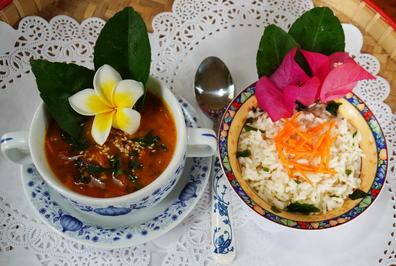 Rezept: Exotisch-würzige Pilz- und Gemüsesuppe mit Duftreis