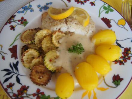 Kabeljaufilet mit Senfsauce, Zucchini und Drillingen - Rezept - Bild Nr. 8884