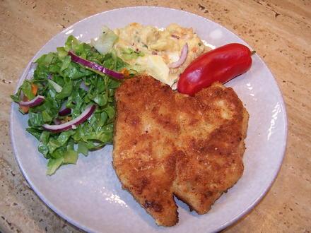 Puten Schnitzel +Kartoffelsalat + Endivien Salat - Rezept - Bild Nr. 2