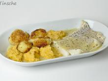Pochiertes Kabeljaufilet, grobes Kartoffel-Süßkartoffelstampf und Knusperblumenkohl - Rezept - Bild Nr. 4