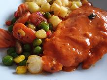 Putenschnitzel- Tomatensosse- Gemüsemix- Kartoffelwürfel - Rezept - Bild Nr. 2
