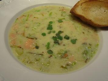 Suppen: Nordische Kartoffel-Buttermilch-Suppe mit Lachs(forelle) - Rezept - Bild Nr. 2