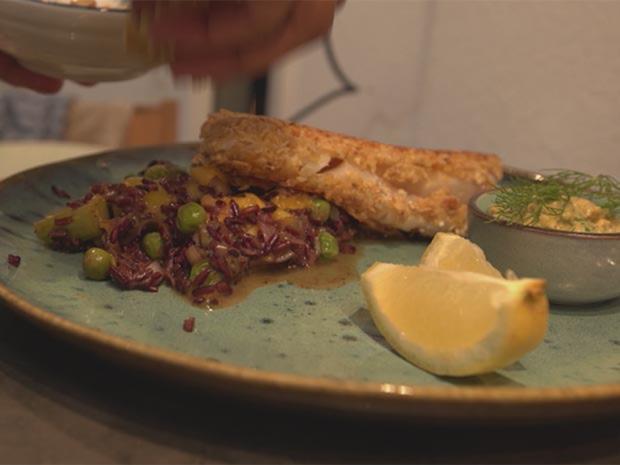 Kabeljau-Filet in Haferflocken-Kruste mit Reis-Mango-Salat - Rezept - Bild Nr. 2