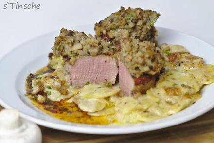 Schweinemedaillons unter Pilzkruste auf Kartoffelauflauf - Rezept - Bild Nr. 10