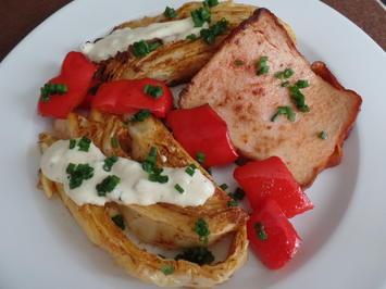 Leberkäse mit Spitzkohl und Paprika on Top mit einem Senf-Dip - Rezept - Bild Nr. 9098
