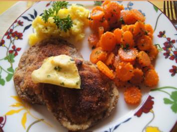 Steinpilzschnitzel mit Honigmöhrenblüten und-Kartoffelstampf - Rezept - Bild Nr. 9386
