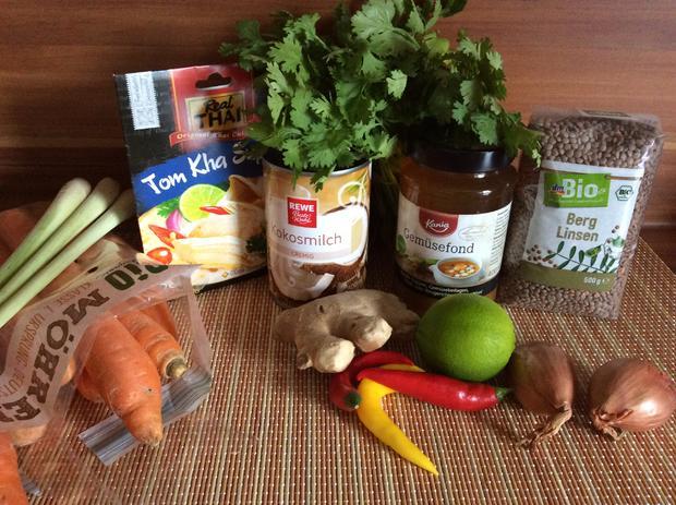 Tom Kha Suppe mit Berglinsen und Gemüse - Rezept - Bild Nr. 3