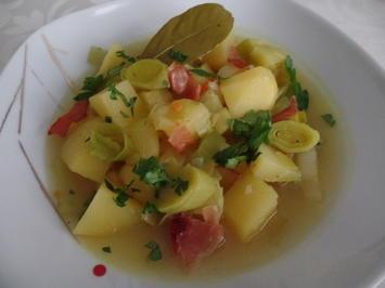Rezept: Kartoffel-Porree -Suppe mit Schinken