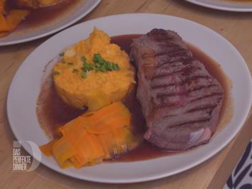 Rezept: Bison-Roastbeef mit Süsskartoffel-Pastinaken-Stampf und Möhrengemüse