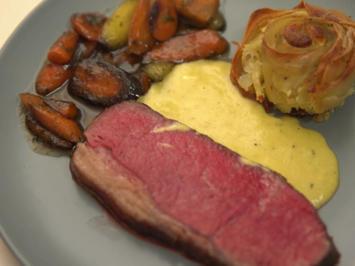 Sous Vide gegartes Roastbeef mit Sauce Bernaise, Kartoffelrose und Honig Möhrchen - Rezept - Bild Nr. 2