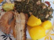 Grünkohl pikant gewürzt mit Brägenwurst, Schweine-braten Prager Art und Kartoffeln - Rezept - Bild Nr. 2