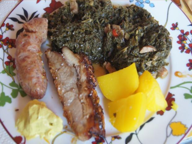 Grünkohl pikant gewürzt mit Brägenwurst, Schweine-braten Prager Art und Kartoffeln - Rezept - Bild Nr. 15