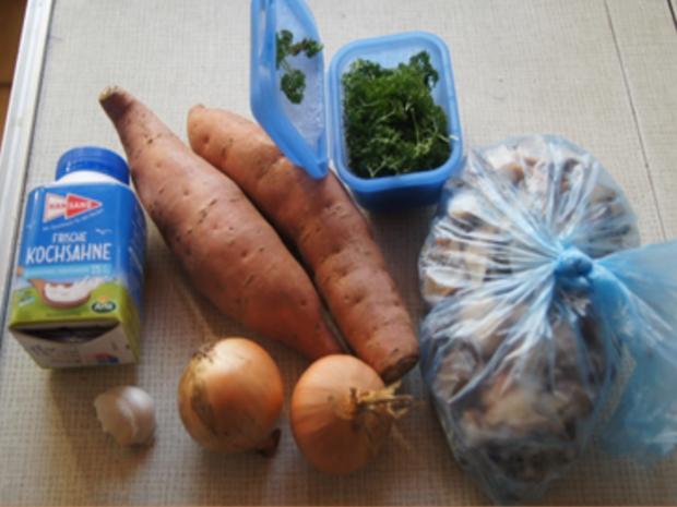 Steinpilzpfanne mit Süßkartoffelstampf - Rezept - Bild Nr. 3