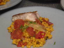Rotbarsch Loin | Fregola Sarda | Mediterranes Gemüse | Salsiccia - Rezept - Bild Nr. 2