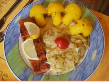 Wildlachs-Filet mit Rahmporree und Kartoffelpilzen - Rezept - Bild Nr. 2
