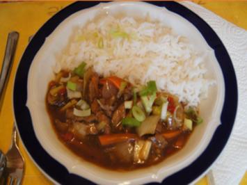 Schweinefilet mit Gemüse im Wok und Basmatireis - Rezept - Bild Nr. 2