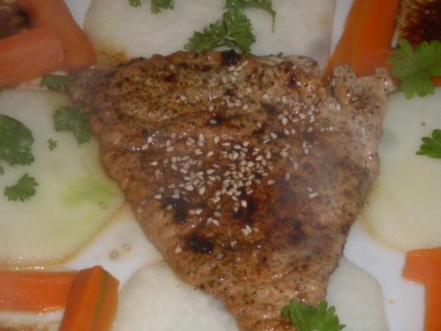 Kalbfleisch-Schnitzel auf Kohlrabischeiben mit Möhrenstifte - Rezept - Bild Nr. 5