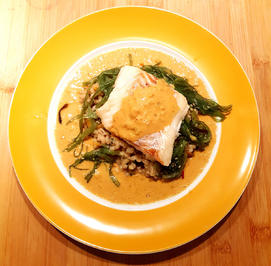 Rezept: Kabeljau auf Graupenrisotto mit Thai-Curry-Schaum