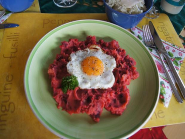 Rote-Bete-Kartoffel-Stampf mit Spiegelei und Chinakohlsalat - Rezept - Bild Nr. 14