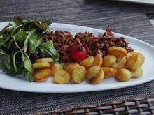 Geschwenkte Kartoffeln an gebutterten Pfifferlingen mit Feldsalat - Rezept - Bild Nr. 9676