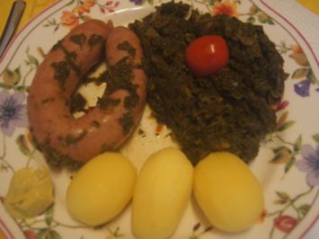 Grünkohl asiatisch gewürzt mit frischer Bregenwurst und Salzkartoffeln - Rezept - Bild Nr. 2