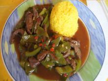 Steakhüfte mit Paprika-Zuckerschoten-Gemüse im Wok und gelber Basmatireis - Rezept - Bild Nr. 2