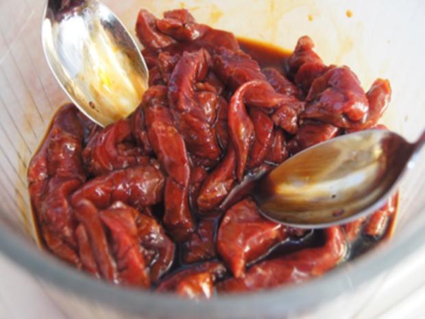 Steakhüfte mit Paprika-Zuckerschoten-Gemüse im Wok und gelber Basmatireis - Rezept - Bild Nr. 5
