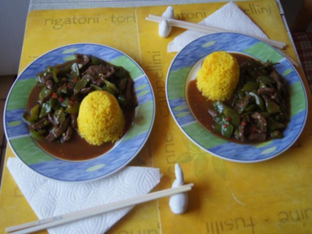 Steakhüfte mit Paprika-Zuckerschoten-Gemüse im Wok und gelber Basmatireis - Rezept - Bild Nr. 18