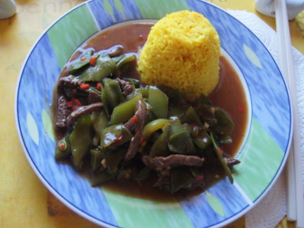 Steakhüfte mit Paprika-Zuckerschoten-Gemüse im Wok und gelber Basmatireis - Rezept - Bild Nr. 19
