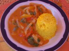 Thailändisches rotes Curry mit Rindfleisch, Paprika-Gemüse-Mix und gelber Basmatireis - Rezept - Bild Nr. 2