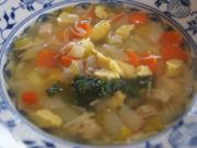 Hähnchenbrustfilet-Gemüse-Suppe mit Eierstich und Fadennudeln - Rezept - Bild Nr. 2